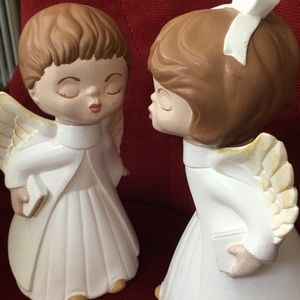 "Vintage Kissing Christmas Ceramics Angels  7"" Tall"